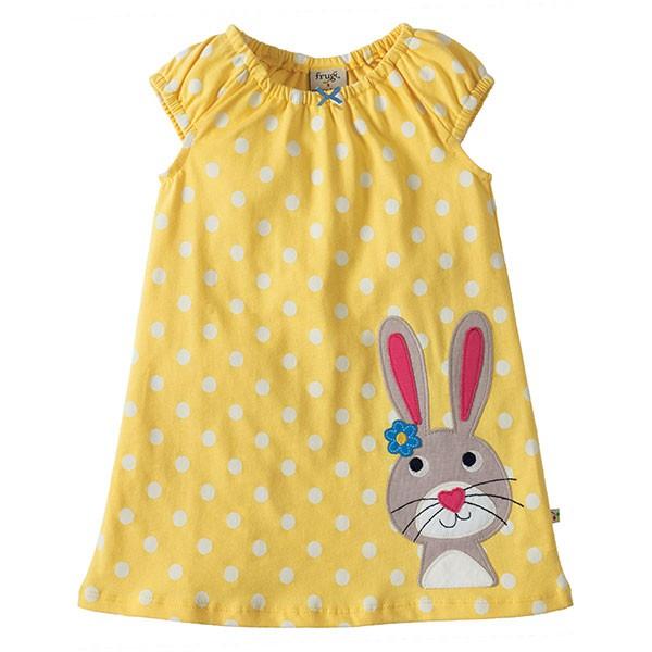 Frugi Little Lola Dress - Yellow Polka Rabbit