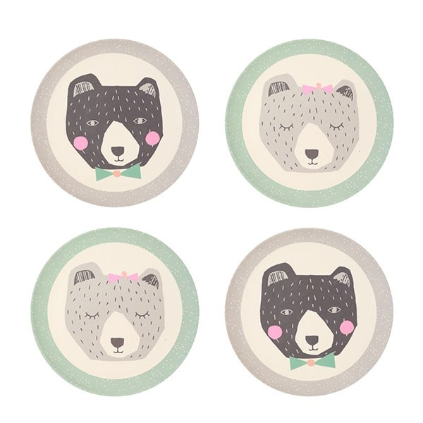 Bamboo 4pk Plates - Mama and Papa Bear
