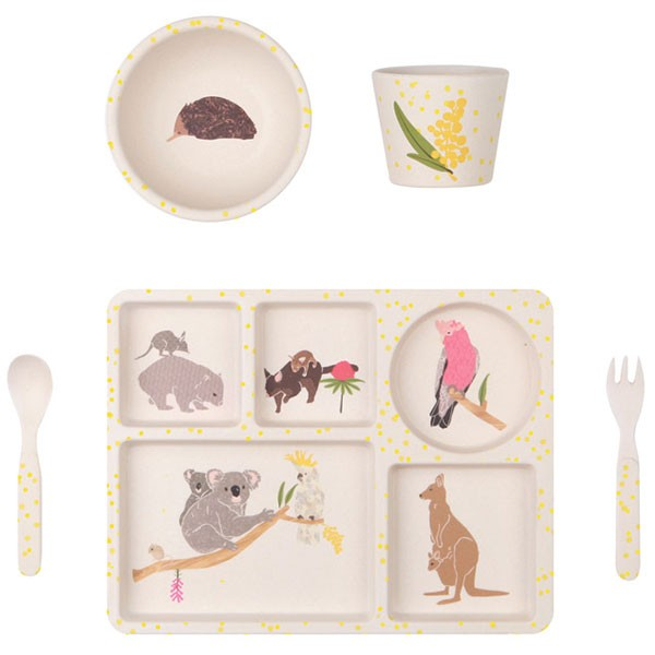 Bamboo 5 Piece Dinnerware set - Australiana