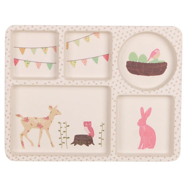 Bamboo 5 Piece Dinnerware set - Woodland Tea Party