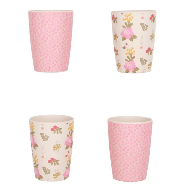 Bamboo Tumbler Set 4-Pack - Floral and Pink