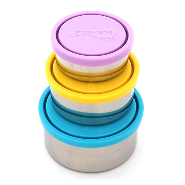 """Kids Konserve """"nesting trio"""" Stainless Steel Food Containers"""