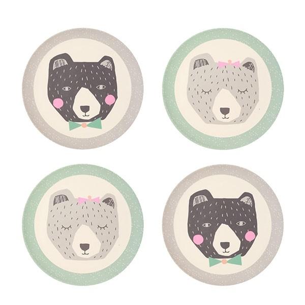 Bamboo 4pk Plates - Mama and Papa Bear