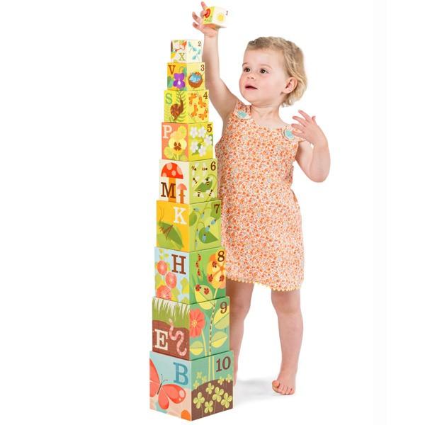 Petit Collage Nesting Blocks - Garden ABC